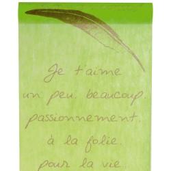 Chemin de table Je t'aime 30cm x 5m vert