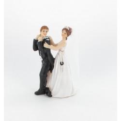 """Figurine de mariés """"homme cadenas autour du cou"""""""