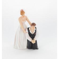 """Figurine de mariés """"homme embrassé"""" veste noire"""