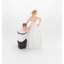"""Figurine de marié """"homme embrassé"""" veste blanche"""
