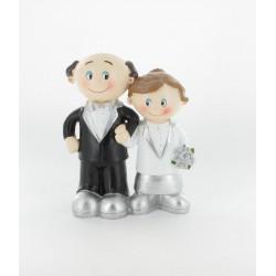 Figurine de mariés argent 11x15cm