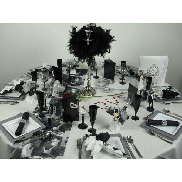Chemin de table romance noir et blanc 30cm x 5m id f tes - Chemin de table noir et blanc ...