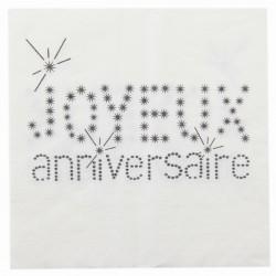 20 serviettes en papier anniversaire