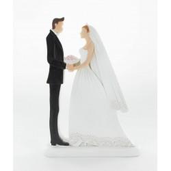 Figurine de mariés face à face