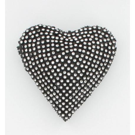 Coeur strass noir 12cm