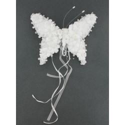 Papillon blanc perles 17cm sur clip
