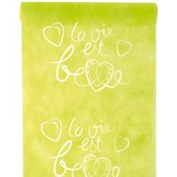 Chemin de table la vie belle vert 30cm x 5m