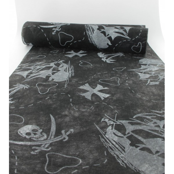 Chemin de table pirates blanc noir 30cmx10m id f tes - Chemin de table noir et blanc ...