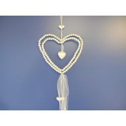 Suspension coeur en perles blanches