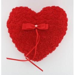 Coussin d'alliance coeur roses rouges