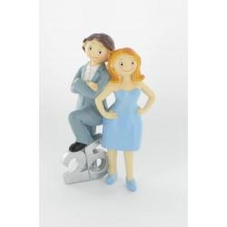 Figurine de mariés 25 argent