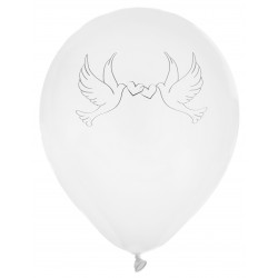 8 ballons colombes blancs