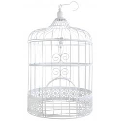 Urne cage à Oiseaux blanche décorative