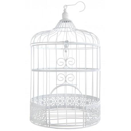 Urne cage oiseaux blanche d corative for Cage a oiseaux decorative