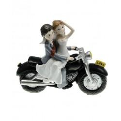 Figurine mariés sur moto noire