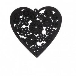 Coeur bois gris découpé (x10)