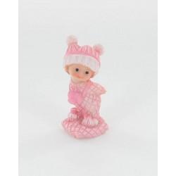 Bébé debout fille rose 7cm