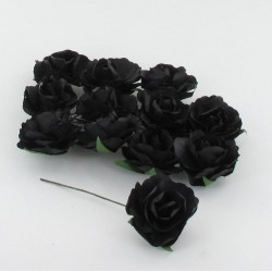 12 roses sur tige en papier 3,5cm