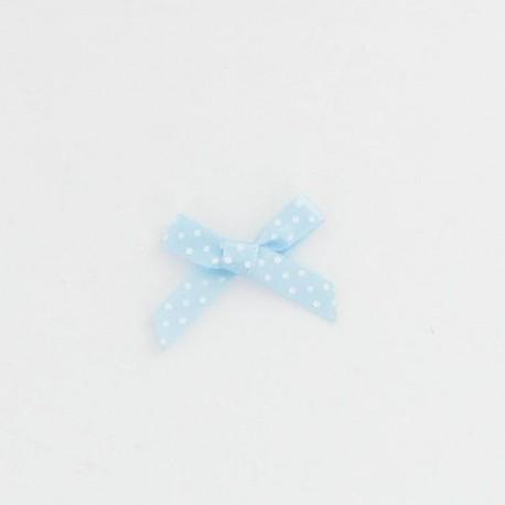 20 noeuds bleus pois blanc 3,5x1,8cm