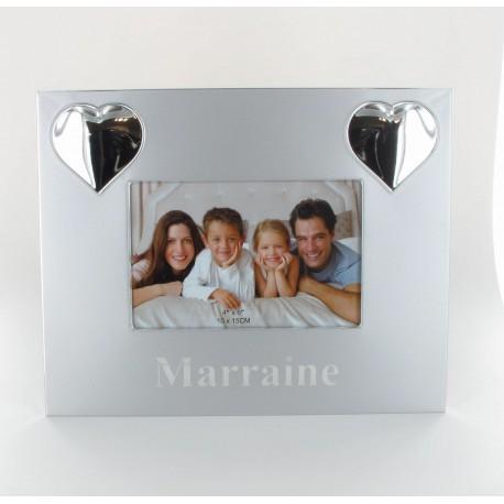 Cadre photo MARRAINE inox 24.5x19cm