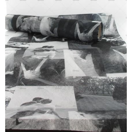Chemin de table romance noir et blanc 30cm x 5m