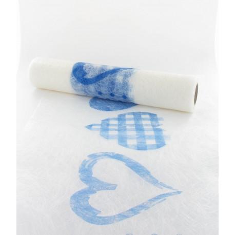 Chemin de table coeurs bleus 30cmx10m