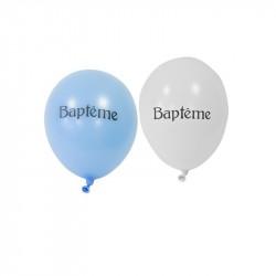 8 ballons Baptême bleus et blancs