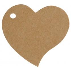 Etiquette coeur kraft (x10)
