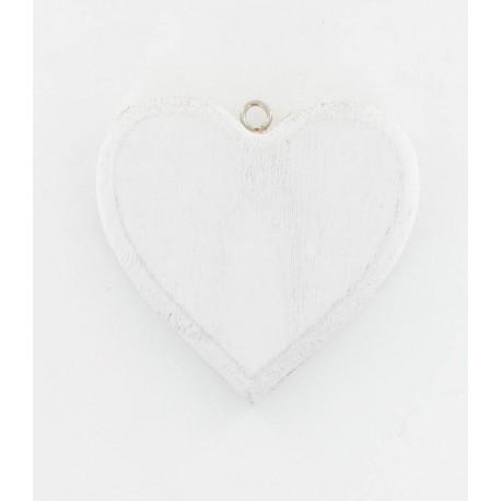 Coeur en bois blanchi 10cm