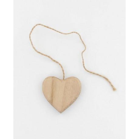 Coeur en bois naturel 5cm + cordelette