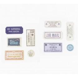20 étiquettes adhésives voyage