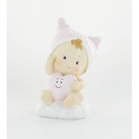 Bébé rose 12cm tirelire