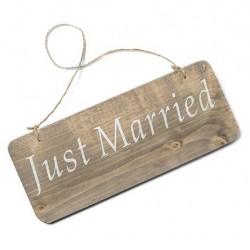 Pancarte bois just married 25x10cm
