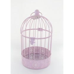 Cage à oiseau en fer rose
