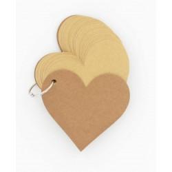 60 tags étiquettes coeur kraft
