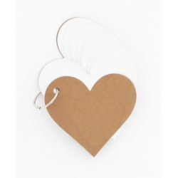 60 tags étiquettes coeur blanc