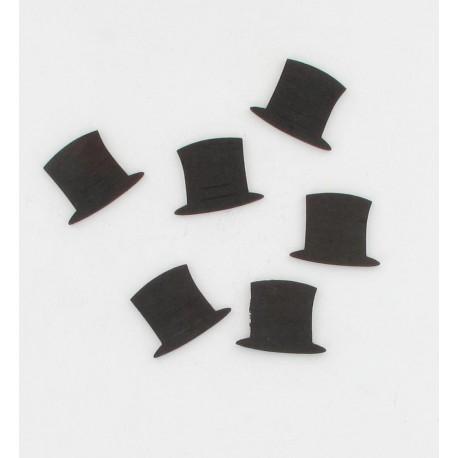 24 chapeaux bois noirs 2,5cm