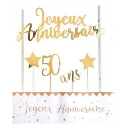 Déco gâteau 50 ans or