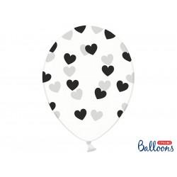 6 ballons crystal coeur noir