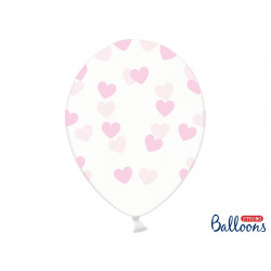 Ballons crystal coeur rose (x6)