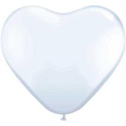 "6 ballons coeur blanc 10"""