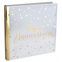 Livre d'or anniversaire blanc métal or