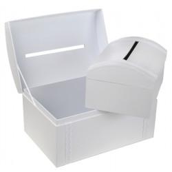 Tirelire coffre blanche et dentelle 30x20cm