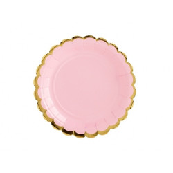 6 assiettes rose bord Or 18cm