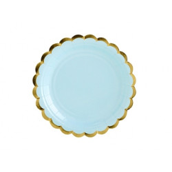6 assiettes bleu clair bord Or 18cm