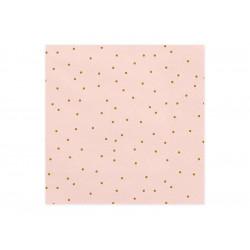 Serviette rose pois or  33x33cm (x20)