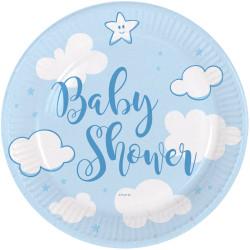 Assiettes Baby Shower bleu 18cm  (x8)