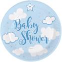 Assiettes Baby Shower bleu (x8)