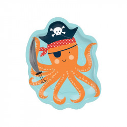 Assiettes pirate poulpe (x8)