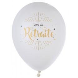 Ballons Vive la retraite blc (x8)